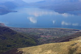 View at Prespa Lake between Macedonia, Albania and Greece from Pelister National Park