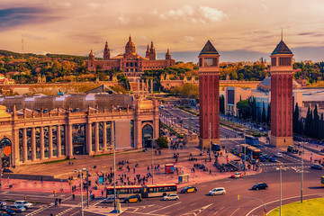 Aerial top view of Barcelona, Catalonia, Spain. The Palau National, National Palace, National Art Museum of Catalonia