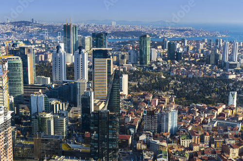 Panorama of the city of Istanbul from the observation platform Sapphire skyscrap Poster