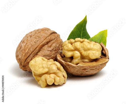 Walnuts with leaves - 144878454