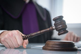 justice and law concept.  judge in a courtroom with the gavel,   - 144879815