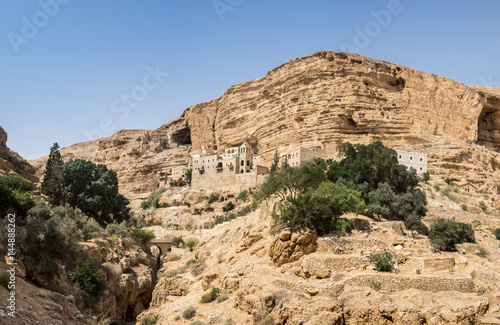 Panoramic view of St George Orthodox Monastery, located in Wadi Qelt, Israel Poster