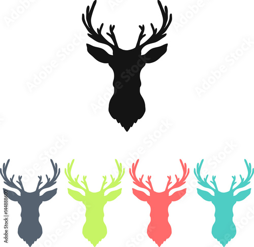 Aluminium Hipster Hert Hand drawn silhouette of head of reindeer. Vector illustration.