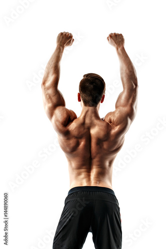 The back view of torso of attractive male body builder on white background Poster