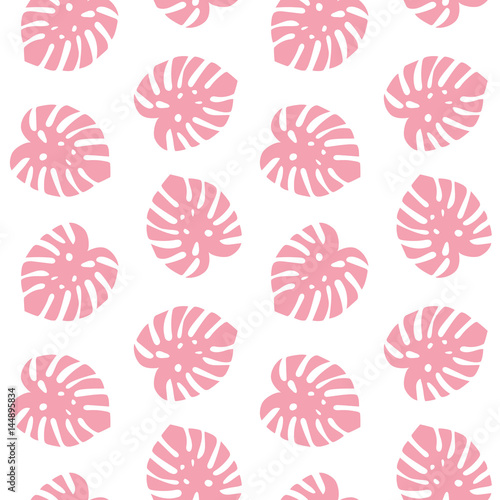 monstera pink leaves tropical summer paradise pattern on a white background seamless vector - 144895834