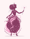 Princess. Fairy with magic wand. Vector silhouette illustration.