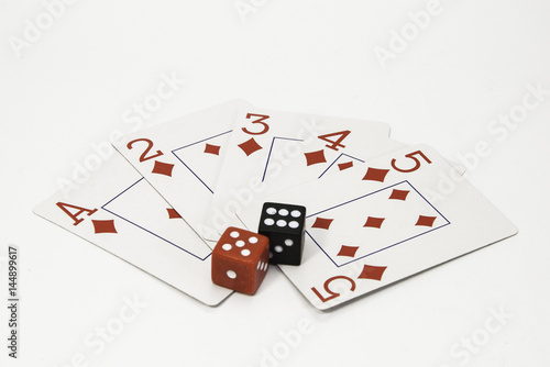 Plakat Red and white playing cards and a pair of black and red dice on a white background