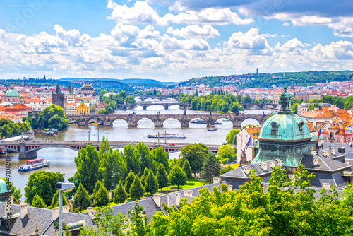 Deurstickers Praag Bridges of Prague and the River Vltava Czech Republic
