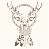 deer with dream catcher with feathers vector illustration eps 10