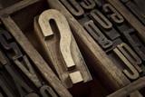 question mark in vintage letterpress type - 144918698