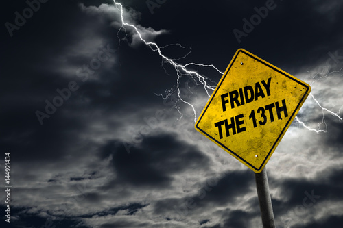 Poster Friday the 13th Sign With Stormy Background