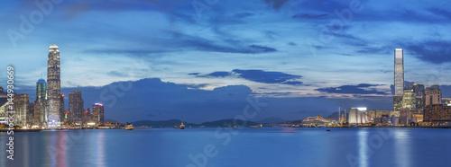 Victoria Harbor of Hong Kong at dusk