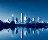Dallas Skyline Reflection at Dawn, Downtown Dallas, Texas, USA - 144932880