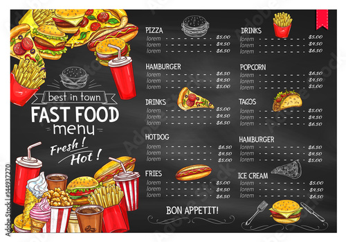 Vector price menu template for fast food meals