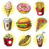 Vector pop art set of trendy fast food patches, badges