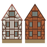 Old german house with wooden beams. Colored drawing