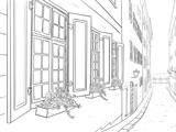 Narrow city street with flowers in window boxes. Hand drawn sketch - 144940034