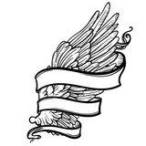 Line art illustration of angel wing and ribbon. Hand drawn vector card. Sketch for tattoo, hipster t-shirt design, vintage style posters. Coloring book for kids and adults. - 144943684