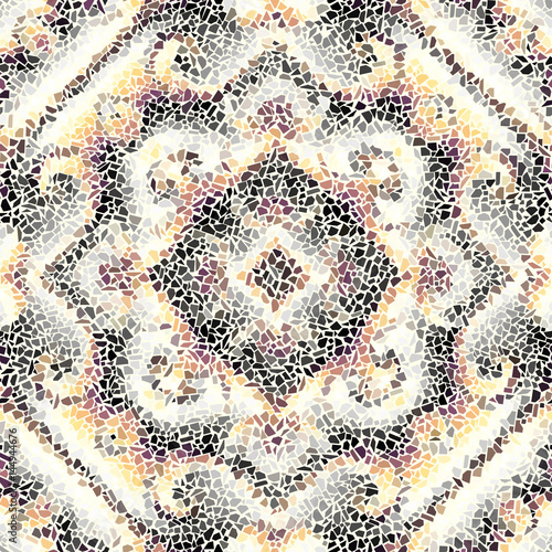 Seamless background pattern. Decorative symmetric mosaic pattern on white background. - 144944676