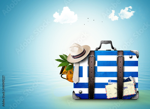 Greece, vintage suitcase with Greece flag