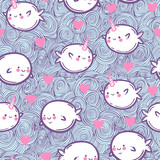 Seamless pattern with unicorn fish and whales. - 144956473