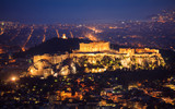 Acropolis of Athens, Greece at night - 144961690