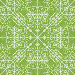 Vintage ornament on greenery seamless pattern background. Vector decoration, trend color 2017