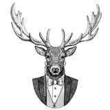 Deer Hipster animal Hand drawn illustration for tattoo, emblem, badge, logo, patch, t-shirt - 144972850