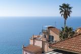 Panorama of Liguria coast shot from the old town of Porto Maurizio, Imperia, Italy