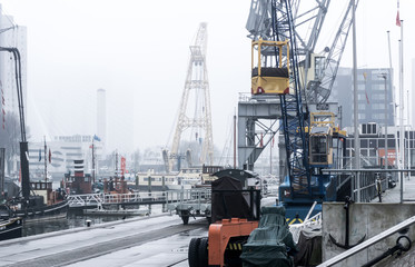 ROTTERDAM, Netherlands - February 7, 2017 : Street view of Port of Rotterdam, the nickname
