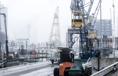 """ROTTERDAM, Netherlands - February 7, 2017 : Street view of Port of Rotterdam, the nickname """"Gateway to Europe"""", and, conversely; """"Gateway to the World"""" in Europe."""