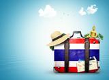 Thailand, vintage suitcase withThai flag