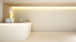 white counter reception for artwork - 3d Rendering