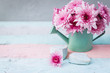 Beautiful Shabby Chic Flowers over wooden background