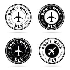 flying icon set travel in black and white color illustration
