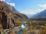 Landscape Of Gupis Lake In Autumn Season, Ghizer Valley, Northern Pakistan