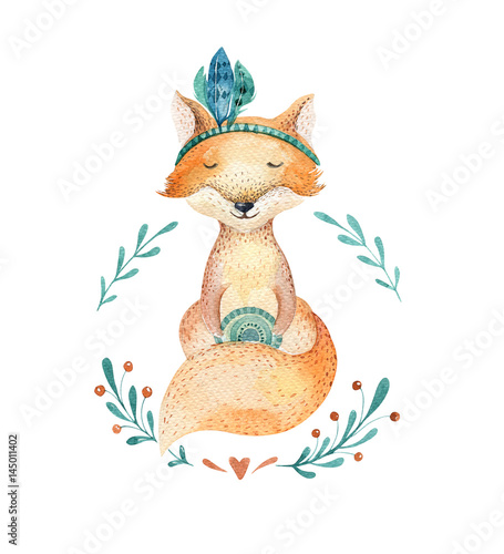Cute baby fox animal for kindergarten, nursery isolated  illustration for children clothing, pattern. WatercolorHand drawn boho image Perfect for phone cases design, nursery posters, postcards. - 145011402