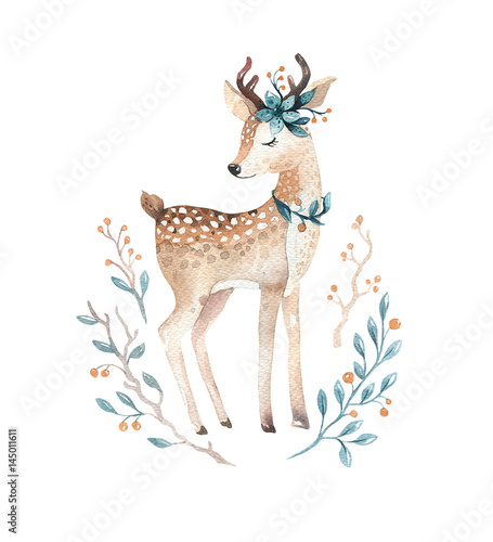 Cute baby deer animal for kindergarten, nursery isolated  illustration for children clothing, pattern. WatercolorHand drawn boho image Perfect for phone cases design, nursery posters. - 145011611