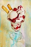 Vanilla Ice Cream Sundae with Cherries and Cream