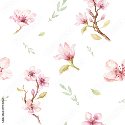 Watercolor seamless wallpaper with blossom cherry flowers, branch and leaves, bohemian watercolour decoration pattern. Design for invitation, wedding or greeting cards - 145012071