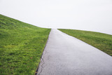 Road heading up in green grass, minimalistic background