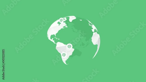 white globe earth on green background with at signs