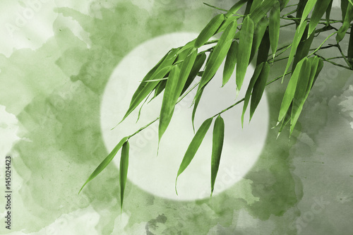 Abstract oriental backgrounds with green bamboo grass for your design