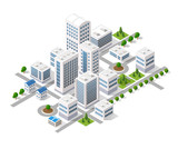 Isometric 3D metropolis city quarter with streets, skyscrapers, trees and houses. Urban landscape top view - 145030462