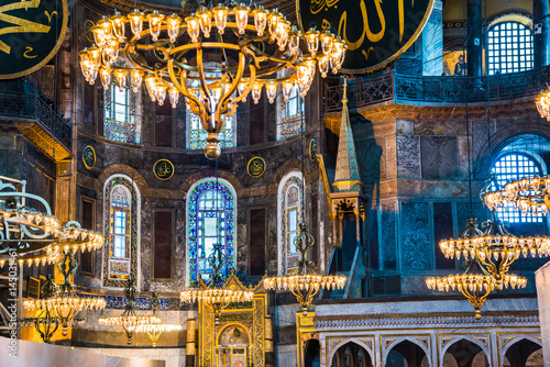 Interior of the Hagia Sophia (Ayasofya) in Istanbul, Turkey - architectural  fragment Poster