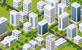 Isometric 3D metropolis city quarter with streets, skyscrapers, trees and houses. Urban landscape top view - 145031640