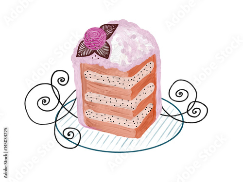 Hand drawn colorful piece of cakes on the white background, isolated illustration painted by oil color, high quality © Iryna