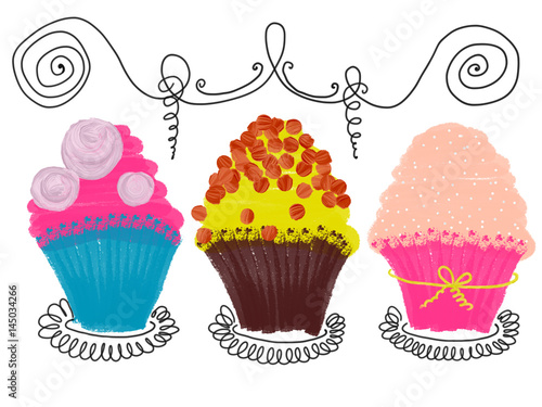 Hand drawn colorful set of cupcakes on the white background, isolated illustration painted by oil color, high quality © Iryna