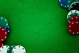 Green felt and playing chips abstract background. - 145036634