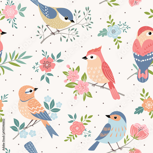 Seamless pastel pattern of birds with floral elements on dot  background. - 145046602